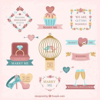 Collection d'accessoires de mariage de cru