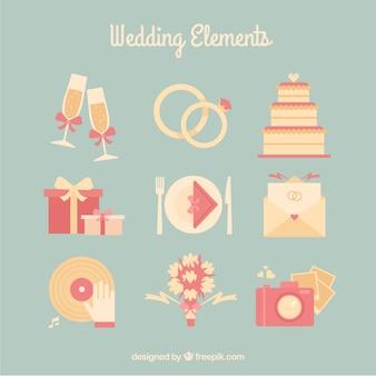 Collection d'accessoires de mariage vintage
