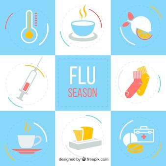 Collection d'accessoires de la saison de la grippe