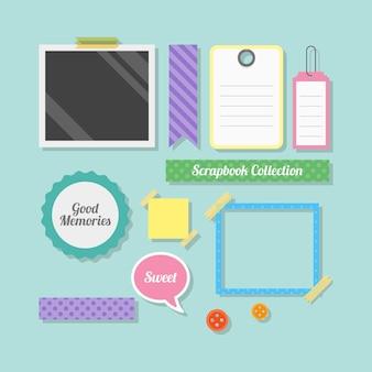 Collection d'accessoires de scrapbooking plat