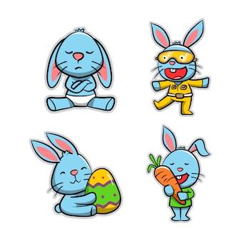 Collection d'action de dessin animé de lapin
