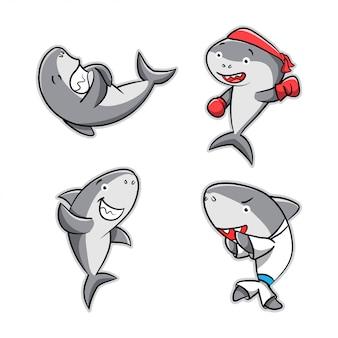 Collection d'action de dessin animé de requin