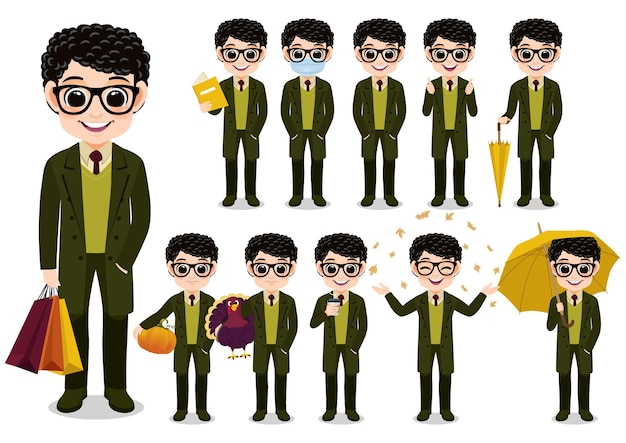 Collection d'activités de plein air de personnage de dessin animé de garçon d'automne avec un long manteau vert, dessin animé isolé sur illustration vectorielle fond blanc