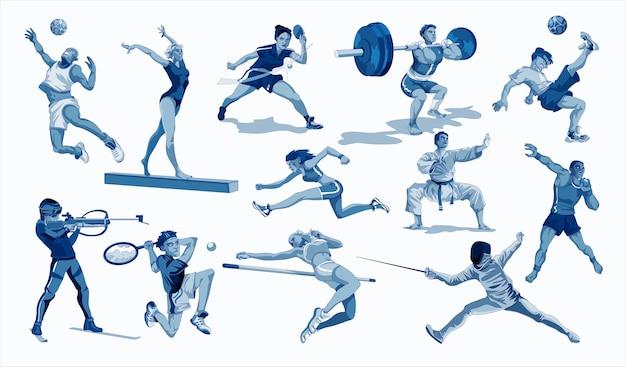 Collection d'activités sportives différentes. athlète professionnel faisant du sport. illustration en style cartoon.