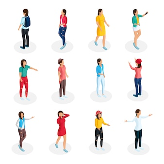 Collection d'adolescents isométrique avec de jeunes filles portant des tenues décontractées et debout dans diverses poses isolées