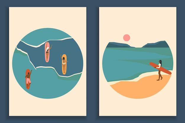 Collection d'affiche de paysage coloré abstrait. ensemble de modèles d'impression de plage d'art contemporain.