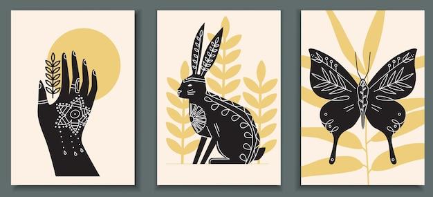 Collection d'affiches abstraites avec des animaux