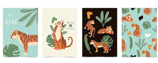 Collection d'affiches d'animaux avec illustration de conception de tigre