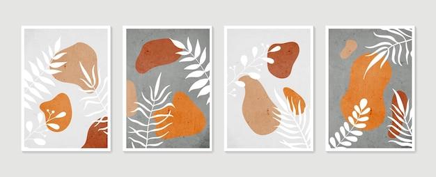 Collection d'affiches d'art contemporain aux couleurs pastel. ensemble d'art mural botanique. art mural minimal et naturel.