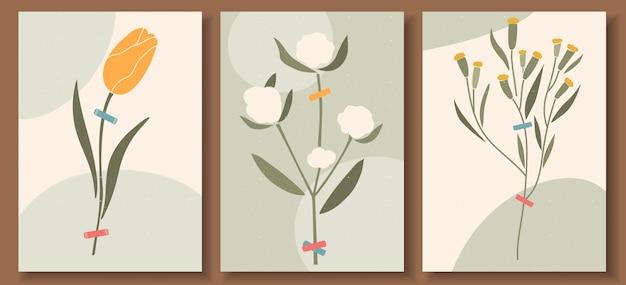 Collection D'affiches D'art Contemporain Aux Couleurs Pastel Vecteur Premium
