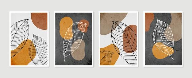 Collection d'affiches d'art avec illustration de feuilles