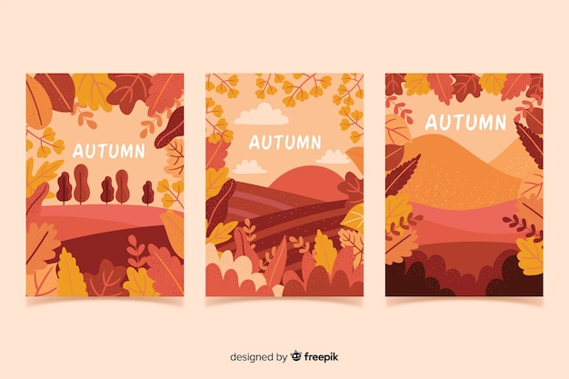 Collection d'affiches automne dessinés à la main