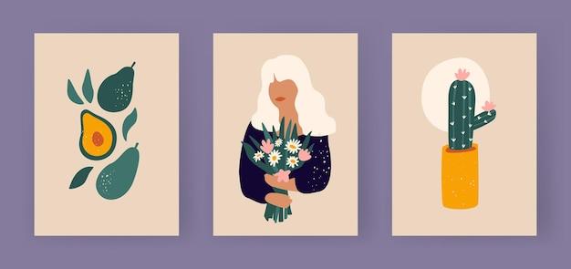 Collection d'affiches boho nature morte silhouette de femme abstraite avec des fleurs