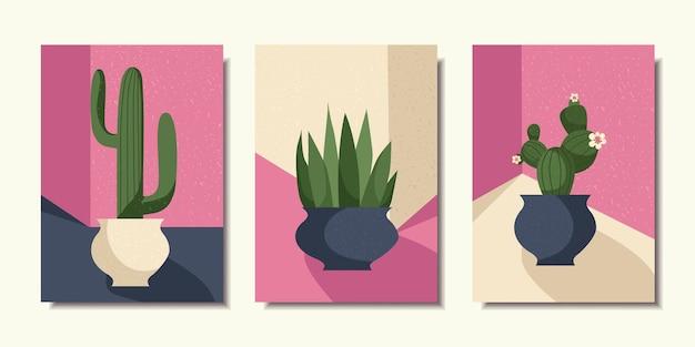 Collection d'affiches cactus en pot art moderne