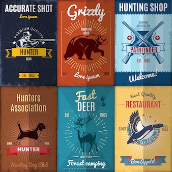 Collection d'affiches de chasse vintage