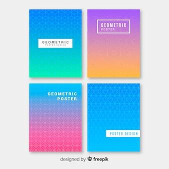 Collection d'affiches dégradé coloré géométrique