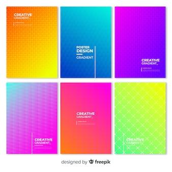 Collection d'affiches dégradé géométrique