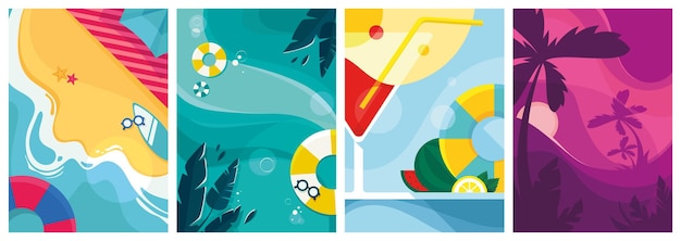 Collection d'affiches d'été.
