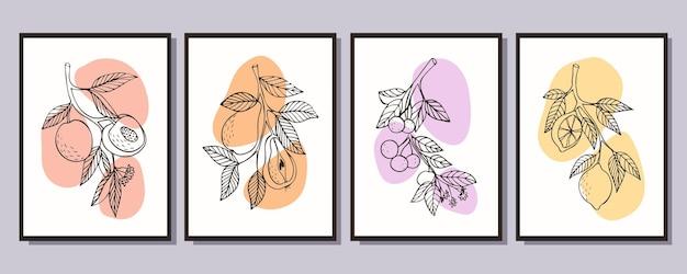 Collection d'affiches de fruits minimalistes branche avec pêches branche avec poires branche avec cherri