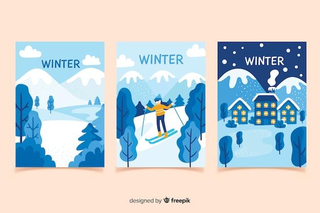 Collection d'affiches hiver dessinés à la main