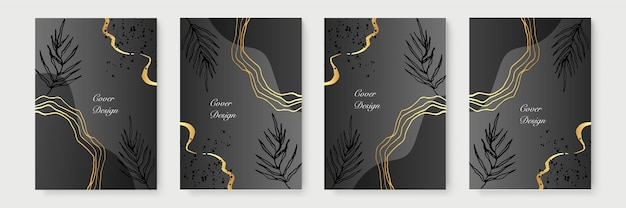 Collection d'affiches minimalistes abstraites avec des lignes florales dorées sur fond noir. conception de bannière de luxe. format a4. idéal pour flyer, emballage, invitation, couverture, carte de visite