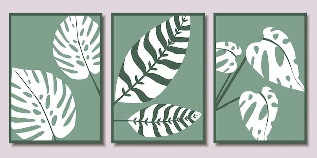 Collection d'affiches minimalistes avec des feuilles tropicales