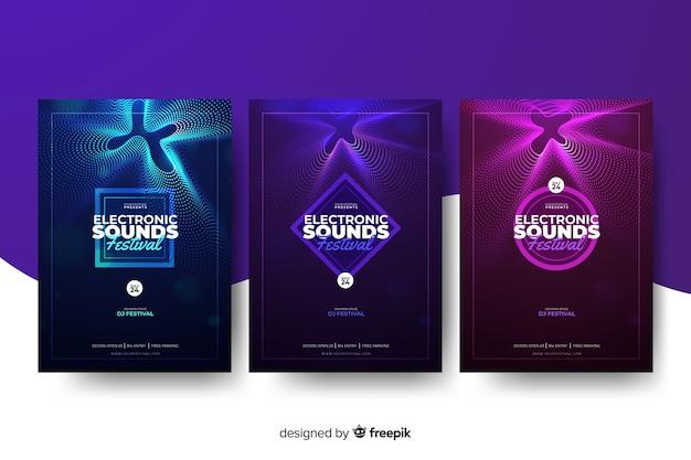 Collection d'affiches de musique électronique wave sound