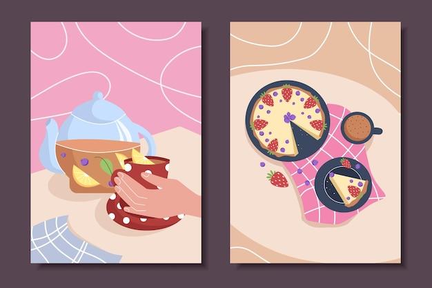 Collection d'affiches avec des natures mortes et des pâtisseries