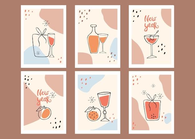 Collection d'affiches. nouvel an. nature morte, cadeau, mandarine. art moderne.