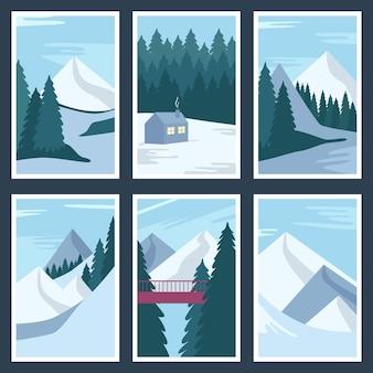 Collection d'affiches de paysage d'hiver. illustrations vectorielles
