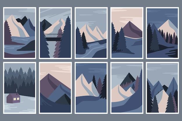 Collection d'affiches avec un paysage d'hiver