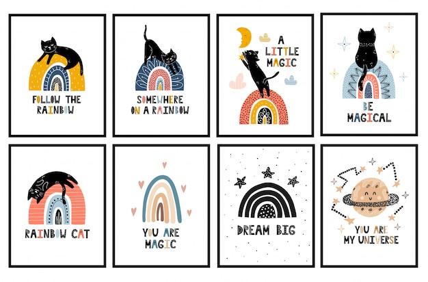 Collection d'affiches pépinières rainbows et chats. ensemble d'art mural avec un mignon chaton noir