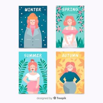 Collection d'affiches saisonnières colorées dessinées à la main