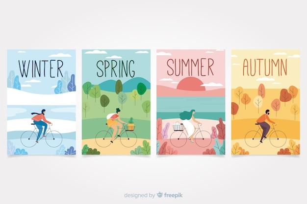 Collection d'affiches saisonnières dessinés à la main colorée