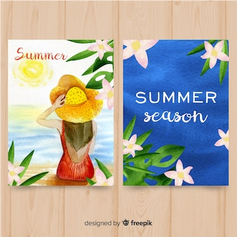 Collection d'affiches saisonnières de style aquarelle