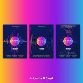 Collection d'affiches sonores wave