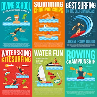 Collection d'affiches de sports nautiques