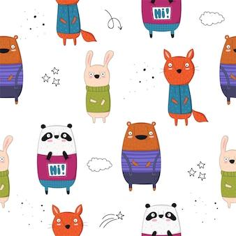 Collection d'affiches vectorielles avec des animaux drôles de dessin animé et slogan hipster zoo graphique dessiné à la main