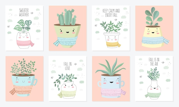 Collection d'affiches vectorielles avec une jolie plante d'intérieur en pot de fleur avec écharpe