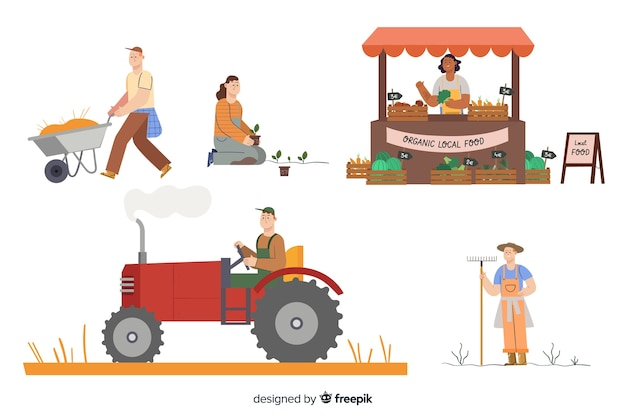 Collection d'agriculteurs travaillant