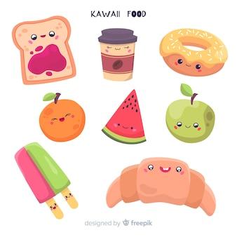 Collection d'aliments dessinés à la main kawaii
