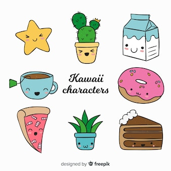 Collection d'aliments dessinés à la main kawaii