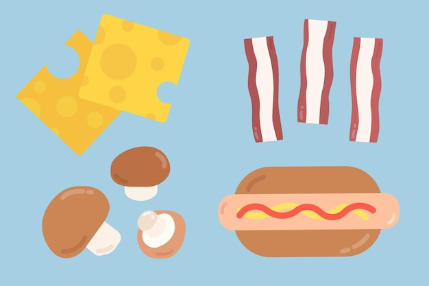 Collection d'aliments plats