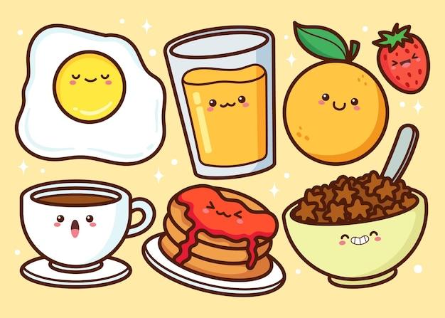 Collection d'aliments pour le petit déjeuner dessinés à la main
