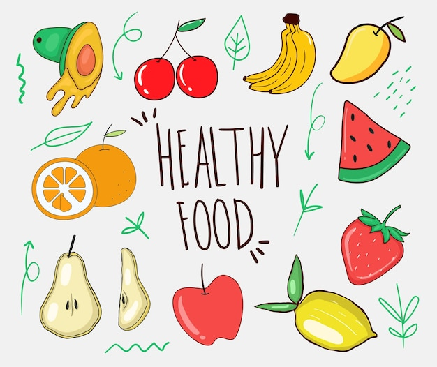 Collection d'aliments sains dessinés à la main colorés