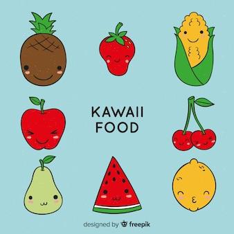 Collection d'aliments sains kawaii dessinée à la main