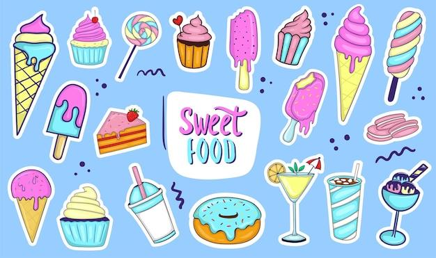 Collection d'aliments sucrés dessinés à la main colorés