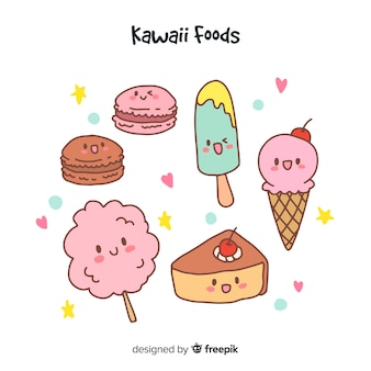 Collection d'aliments sucrés dessinés à la main kawaii