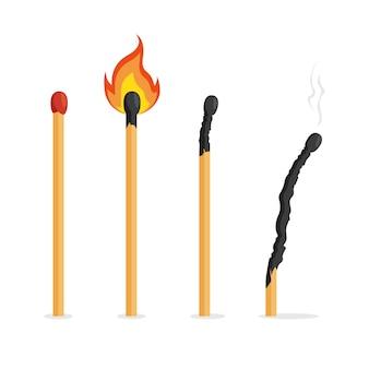 Collection d'allumettes avec le feu