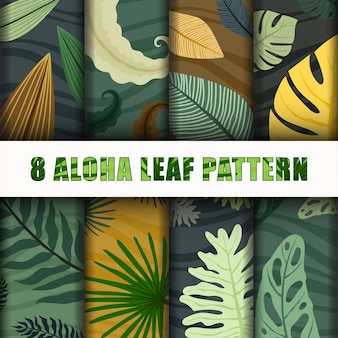 Collection aloha leaf pattern set